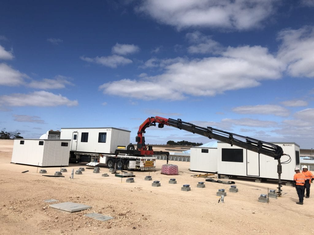 T-Ports have completed the installation of portable buildings on the bunker sites including toilets, supervisors' office and smoko rooms, with thanks to Ausco Modular. Pic taken at Lock.
